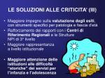 le soluzioni alle criticita iii