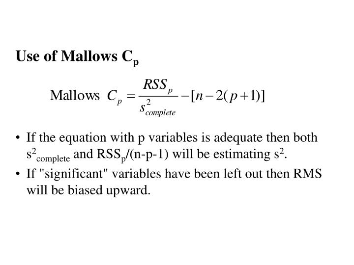 Use of Mallows C