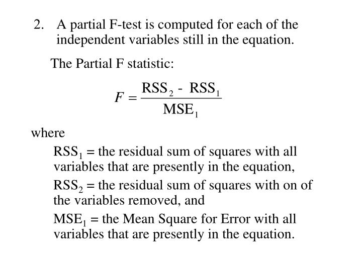 The Partial F statistic: