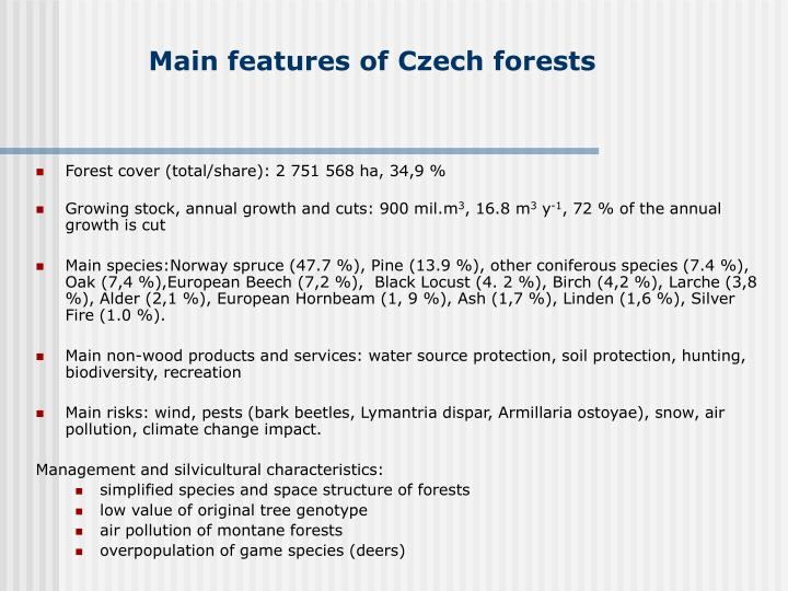 Main features of czech forests