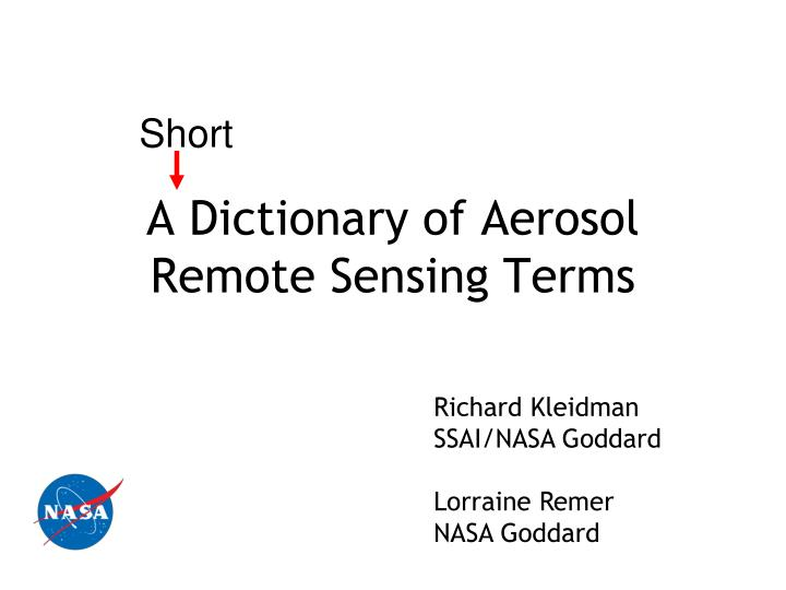 a dictionary of aerosol remote sensing terms n.