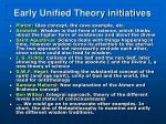 early unified theory initiatives