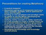 preconditions for creating metatheory