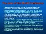 the aims of the world conference