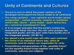 unity of continents and cultures