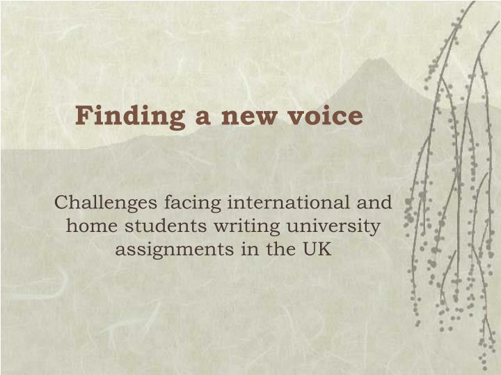finding a new voice n.