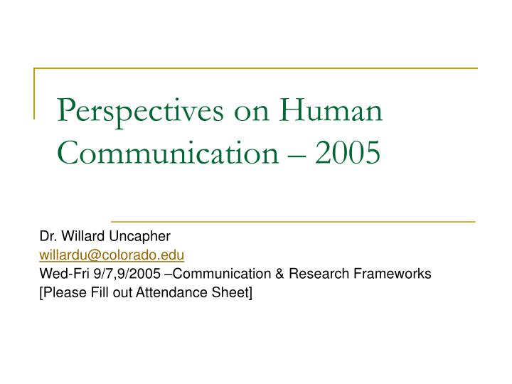 perspectives on human communication 2005 n.