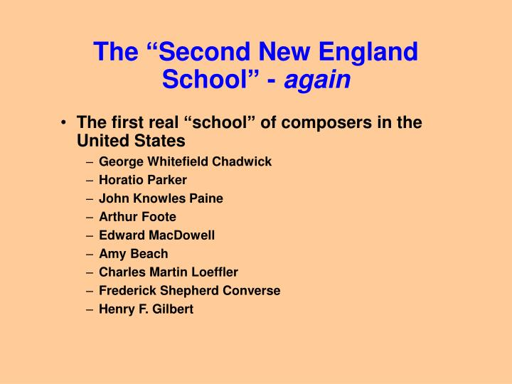 the second new england school again n.