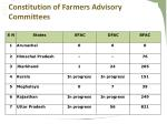 constitution of farmers advisory committees