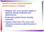 aerobic fitness and endurance performance in children