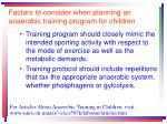 factors to consider when planning an anaerobic training program for children