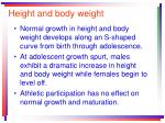 height and body weight