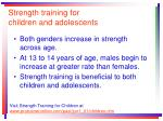 strength training for children and adolescents