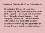 moving to community living arrangement