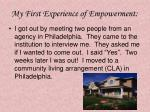 my first experience of empowerment