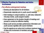 effective practices for retention and active involvement