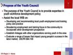 propose of the youth council