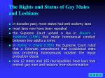 the rights and status of gay males and lesbians