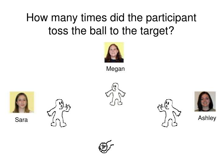 How many times did the participant toss the ball to the target?