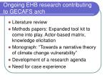 ongoing ehb research contributing to gecafs arch