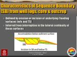characteristics of sequence boundary sb from well logs core outcrop