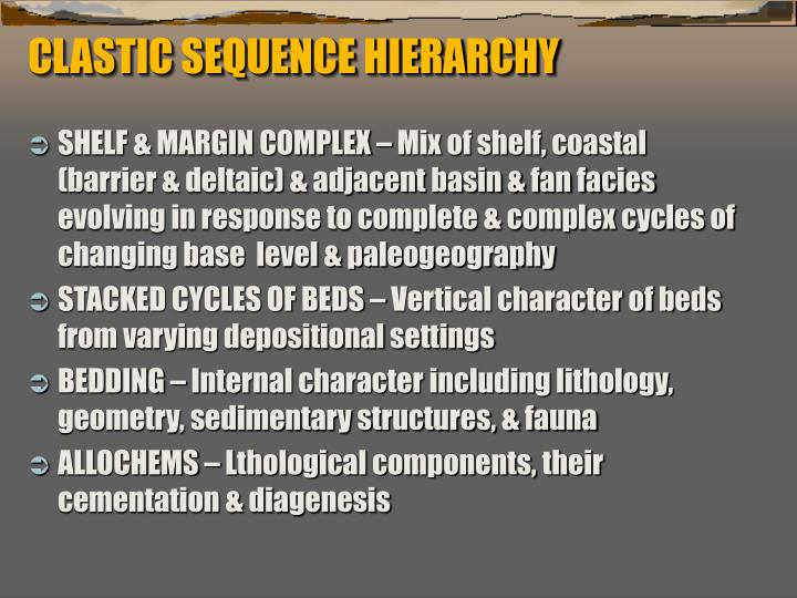 CLASTIC SEQUENCE HIERARCHY
