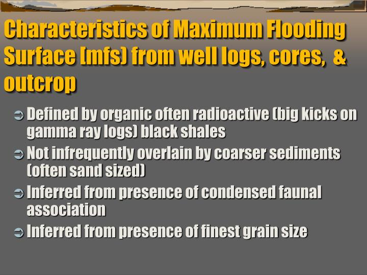 Characteristics of Maximum Flooding Surface [mfs) from well logs, cores,  & outcrop