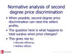 normative analysis of second degree price discrimination3