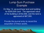 lump sum purchase example