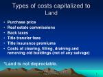 types of costs capitalized to land
