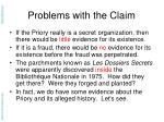 problems with the claim