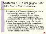 sentenza n 215 del giugno 1987 della corte costituzionale