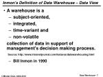 inmon s definition of data warehouse data view