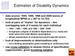 estimation of disability dynamics
