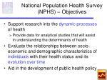 national population health survey nphs objectives