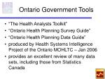 ontario government tools