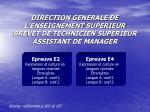 direction generale de l enseignement superieur brevet de technicien sup rieur assistant de manager1
