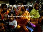 importance of cost