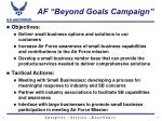af beyond goals campaign