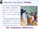 pfdc thrust areas 2005 06 training