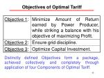 objectives of optimal tariff
