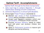 optimal tariff accomplishments