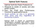 optimal tariff features
