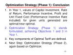 optimization strategy phase 1 conclusion