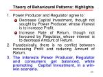 theory of behavioural patterns highlights