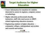target audience for higher education