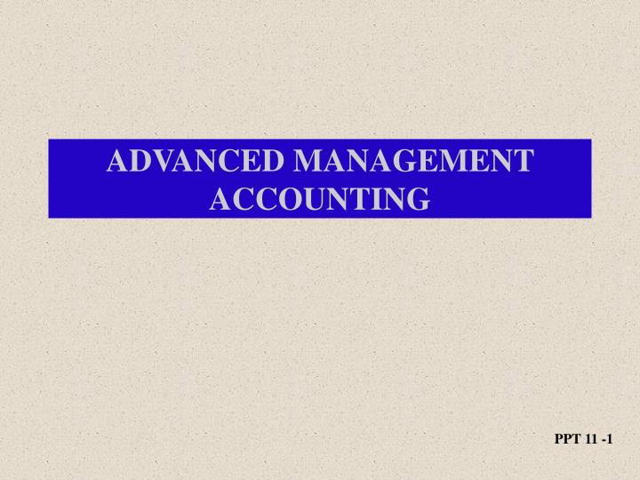 advanced management accounting n.