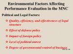 environmental factors affecting performance evaluation in the mnc1