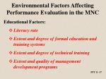 environmental factors affecting performance evaluation in the mnc2