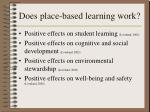 does place based learning work